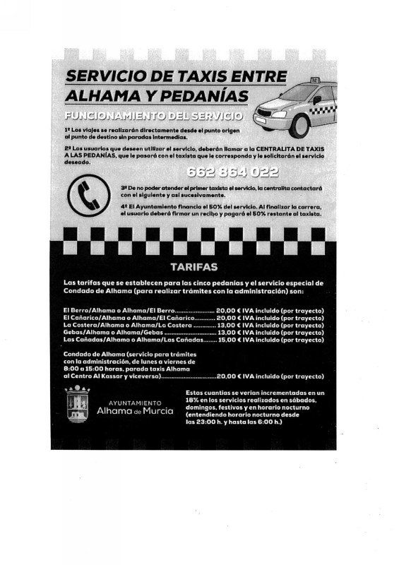 50% reduction for Taxi from Condado to Alhama (Now 10€ each way)