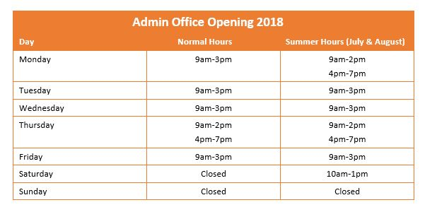 Admin office opening hours - 2018